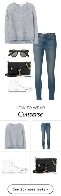 """high top converse"" by kcunningham1 on Polyvore featuring Frame Denim, Rebecca Taylor, Converse, Illesteva and Rebecca Minkoff"