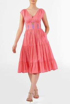 Peacock feather tiered voile dress