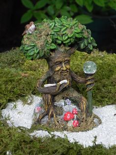 Fairy Garden Tree With Face Reading Book Forest Miniatures Woodland Mushrooms Glow In The Dark Gl Ball Mini Accessories