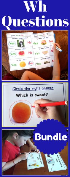 Wh Questions, Special Education Worksheets Bundle - What Questions, Who Questions, Where Questions, Which Questions, Yes - No Questions, (who what when where). These resources use real life pictures helping the students to understand and practice different kinds of questions. #whquestions #questions #worksheets #tpt #teacherspayteachers #autism #speechtherapy #slp #sped For more resources follow https://www.pinterest.com/angelajuvic/autism-and-special-education-resources-angie-s-tpt/