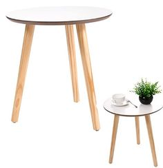 New White Modern Round Coffee Table Simple Style End Table W/Pine Wood Legs< new table design Chair Side Table, End Tables, A Table, Table Lamp, Round Coffee Table Modern, Modern Side Table, Contemporary Dining Room Sets, Mirrored Side Tables, Sectional Sofa With Recliner