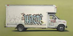 canvas, Cars, creative, Illustration, Inspiration, oil, painting, Retro, trucks, vans, vehicles,