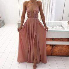 Sexy A-line Deep V-neck Long Pink Prom Dress Boho Prom Dress
