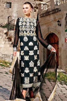 Stunning Black Long Straight Suit Material - 20% #Discount #StraightSuit #DressMaterial