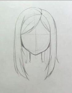 Hair Sketch, Sketch Art, Drawing Sketches, Drawing Drawing, Anatomy Drawing, Girl Hair Drawing, Anime Hair Drawing, Basic Drawing, Sketch Ideas
