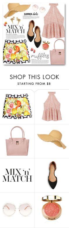 """Fruit Print Shorts"" by katrinaalice ❤ liked on Polyvore featuring Isolda, MANGO, ANS, Anja, New Look, Merona, Chloé and Orelia"
