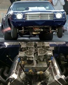 """Street Outlaws """"The Street Beast"""" 1970 Chevy Monte Carlo 706ci BBC with 18* CFE Big Chief heads, topped with 3 Monte Smith Nitrous foggers and fed by split dominators on top.  Handling the power is a Th400 built by Ace Racing Transmission www.thestreetbeast.com"""