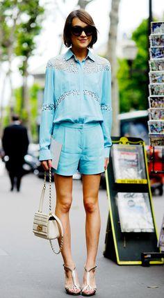 Ella Catliff, on Rue Madeleine during Haute Couture .