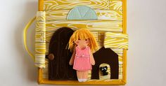 Travel dollhouse busy book with felt paper doll- kitchen dining room bathroom toilet wardrobe laundry room playroom bedroom