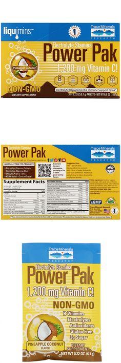 "America's #1 Trace Mineral Brand Non-GMO Dietary Supplement 1,200 mg Vitamin C! B Vitamins + / - Electrolytes Antioxidants Ionic Trace Minerals Low Sugar Liquimins Electrolyte Replacement & Immune Support Drink Play Harder, Endure Longer cGMP Certified Vegan -AVA Gluten Free A flavored effervescent ""fizzing"" drink with vitamins and over 72 electrolytes. Why is Power Pak better? Non-GMO formula, less Niacin Vitamin, Vitamin C, Alpha Lipoic Acid, Pantothenic Acid, Pineapple Coconut, Natural Vitamins, Sodium Bicarbonate, Folic Acid, Low Sugar"