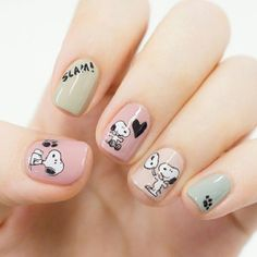 Pin by Niel Langner on Nail art ideas in 2019 Disney Acrylic Nails, Cute Acrylic Nails, Cute Nail Art, Disney Nail Designs, Toe Nail Designs, Cute Pink Nails, Pretty Nails, Snoopy Nails, Anime Nails