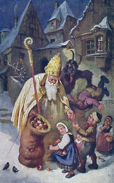 Vintage Christmas Postcard - Pagan Roots of Saint Nick. and Krampus the Demonic Assistant who Took Naughty Children to Hell.- Note the Mitre Hat on Saint Nicholas is Similar to Roman Catholic Pope Attire. Dark Christmas, Victorian Christmas, Father Christmas, Vintage Christmas Cards, Vintage Holiday, Christmas Art, Xmas, German Christmas, Saint Nicolas