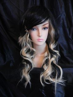 SHOPWIDE SALE Raven / Blonde and Black / Long Wavy by ExandOh, $100.00