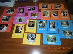 I made E these photo flash cards of our immediate family so she can learn names and relations.