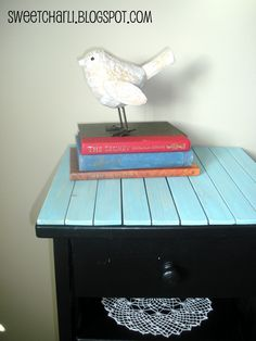 paint sticks used to refreshen up the top of a small table (and other paint stick projects)