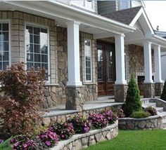 Front Porch Stone Columns In | want to do stone front on my porch and match it to the garden border ...
