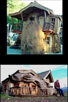 Steve Blanchard carves some of the most impressive fairytale wooden homes. Mixed with rustic motives and wildlife models, the creativity exhibited by Blanchard is awe-inspiring.   Image credit: blanchardwoodsculpture