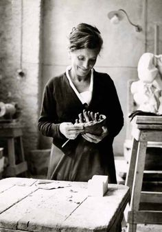 Louise Bourgeois working on Sleep II (Dream II), Italy, 1967.