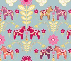 dala_horse_pastel_fond_bleu_L fabric by nadja_petremand on Spoonflower - custom fabric