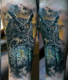 Owl Tattoos 4 Highly detailed owl and woods design with some great background…
