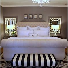Love so much about this room.  Mirrors on either side of bed, mirrored side tables, paint, bed, everything!
