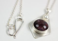 Star Ruby, Freshwater Pearl & Sterling Silver Pendant Necklace. $250.00, via Etsy.