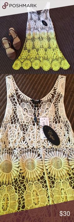 Cupio crocheted cover up dress size S/M This crocheted cover up dress has a pretty fade of white into yellow color and is perfect to wear over your bathing suit at the beach or the pool. Open to reasonable offers  Cupio Dresses