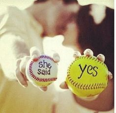 Softball wedding pic this would be cool with a hockey puck as the baseball
