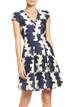 Vince Camuto Floral Organza Fit & Flare Dress (Regular & Petite)