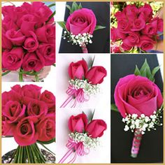 Beautiful package of wedding arrangements with hot pink roses! What a splash of color! www.Bridesign.com