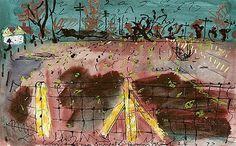John Piper - CABBAGE FIELD, SNARGATE, ROMNEY MARSH John Piper Artist, Romney Marsh, Coventry Cathedral, British Wildlife, Indian Elephant, English Artists, Royal College Of Art, Gcse Art, Landscape