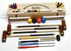 Garden Games Hurlingham Croquet Set player in a Tool Kit Bag) Games For Kids, Games To Play, Period Living, Garden Games, Table Games, Game Tables, Big Game, Solid Pine, Wood Boxes