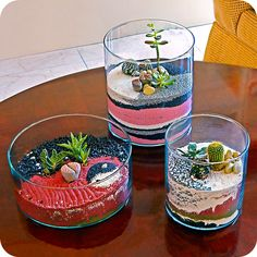 sand terrarium, succulent terrarium, plant gift ideas, cool home decor, modern planters. $35.00, via Etsy.