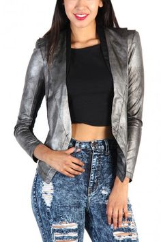 Faux Leather Snakeskin Jacket - Gray #bottom #blogger #france #norway #denmark #top