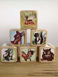 Vintage Bambi // Childrens Book Blocks // Natural Wood Toy