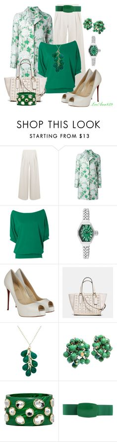 """""""Green grey white floral coat"""" by leeann829 ❤ liked on Polyvore featuring Antipodium, P.A.R.O.S.H., Alloy Apparel, Glam Rock, Christian Louboutin, Coach and Mela Artisans"""