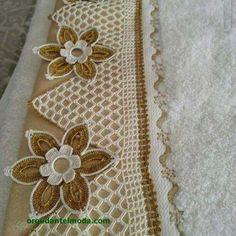 "Havlu kenarı kenar dantel ""This post was discovered by Lal"" Crochet Lace Edging, Crochet Borders, Crochet Squares, Thread Crochet, Love Crochet, Crochet Flowers, Crochet Stitches, Crochet Bedspread, Crochet Curtains"
