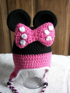 Minnie Mouse Earflap Hat with Braids All by dcoycrochetsforyou, $30.00