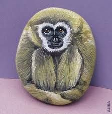 Monkey see - painted rock