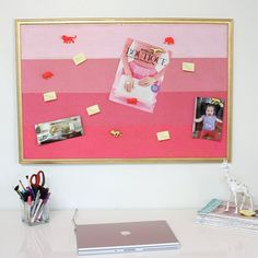Bring color into your office with an easy to do painted ombre cork board.