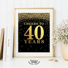 Cheers to 40 years, Printable 40th birthday decor, Cheers to 40 years birthday sign, Birthday party decorations, Birthday Printable Banner by RosemaryLetters on Etsy https://www.etsy.com/listing/270374148/cheers-to-40-years-printable-40th