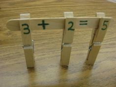 Kids develop math concepts and fine motor skills as they build math facts using clothespins and craft sticks! (Free ideas also included for helping kids work with fact families and missing addends.) used PreK classroom math/everyday life centers Math Classroom, Kindergarten Math, Teaching Math, Preschool, Classroom Ideas, Math Tutor, Math Stations, Math Centers, Fun Math