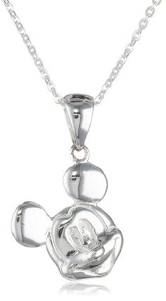 "Amazon.com: Disney Mickey Sterling Silver Pendant Necklace with 18"" Chain: Jewelry"
