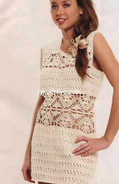 Crochetemoda: Vestido de Crochet Bege IV