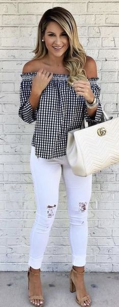 #summer #outfits Monochrome Off The Shoulder Top + White Ripped Skinny Jeans // Shop this exact outfit in the link