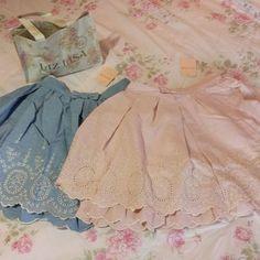 Liz lisa cotton chambray embroidered skirt (nwt)