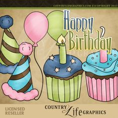 Cupcake Birthday (Whimsy Doodle Graphics)