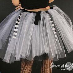 Nightmare Jack tutu skirt white black Adult stripe pirate costume club | SistersOftheMoon - Clothing on ArtFire