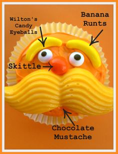 """""""How-To"""" decorate Lorax cupcakes - a fun way to support informational dialogue (how-to, step-by-step) after reading """"The Lorax.""""  {Earth Day}"""
