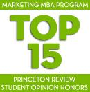 Top 15 Marketing MBA Program Princeton Review Student Opinion Honors